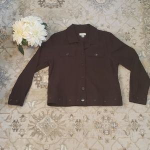 Christopher & Banks Chocolate Brown Jacket Sz L